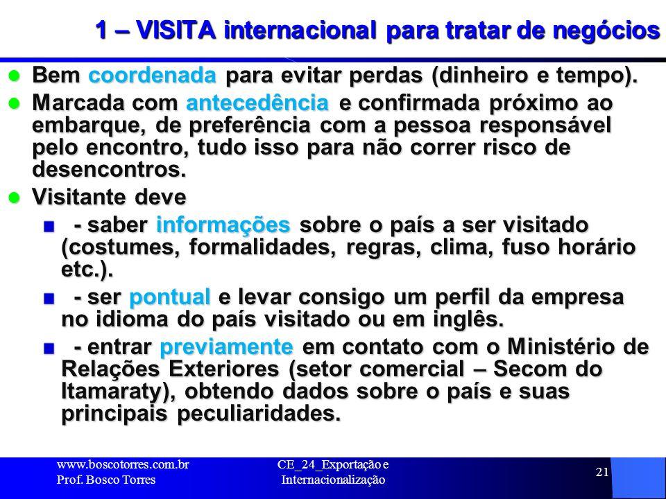 CE_24_Exportação e Internacionalização 21 1 – VISITA internacional para tratar de negócios Bem coordenada para evitar perdas (dinheiro e tempo). Bem c