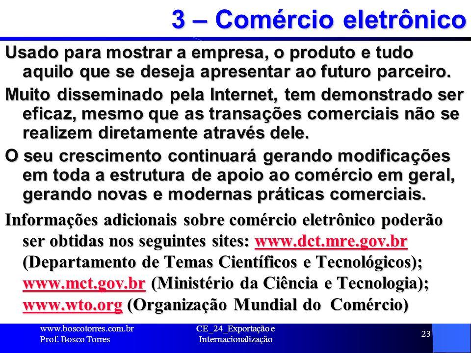 CE_24_Exportação e Internacionalização 23 3 – Comércio eletrônico Usado para mostrar a empresa, o produto e tudo aquilo que se deseja apresentar ao fu
