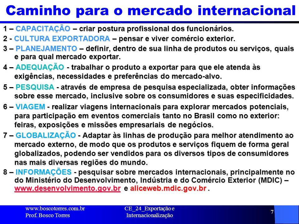 CE_24_Exportação e Internacionalização 7 Caminho para o mercado internacional 1 – CAPACITAÇÃO – criar postura profissional dos funcionários. 2 - CULTU
