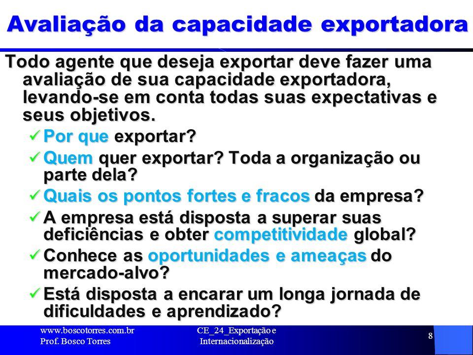 8 Avaliação da capacidade exportadora Todo agente que deseja exportar deve fazer uma avaliação de sua capacidade exportadora, levando-se em conta toda