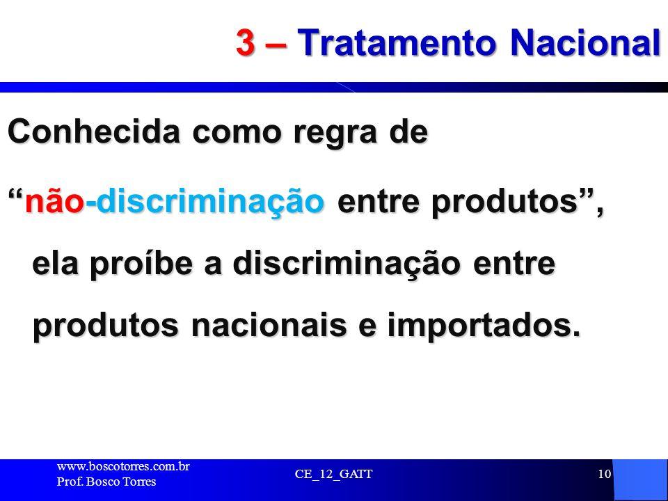 CE_12_GATT10 3 – Tratamento Nacional Conhecida como regra de não-discriminação entre produtos, ela proíbe a discriminação entre produtos nacionais e i