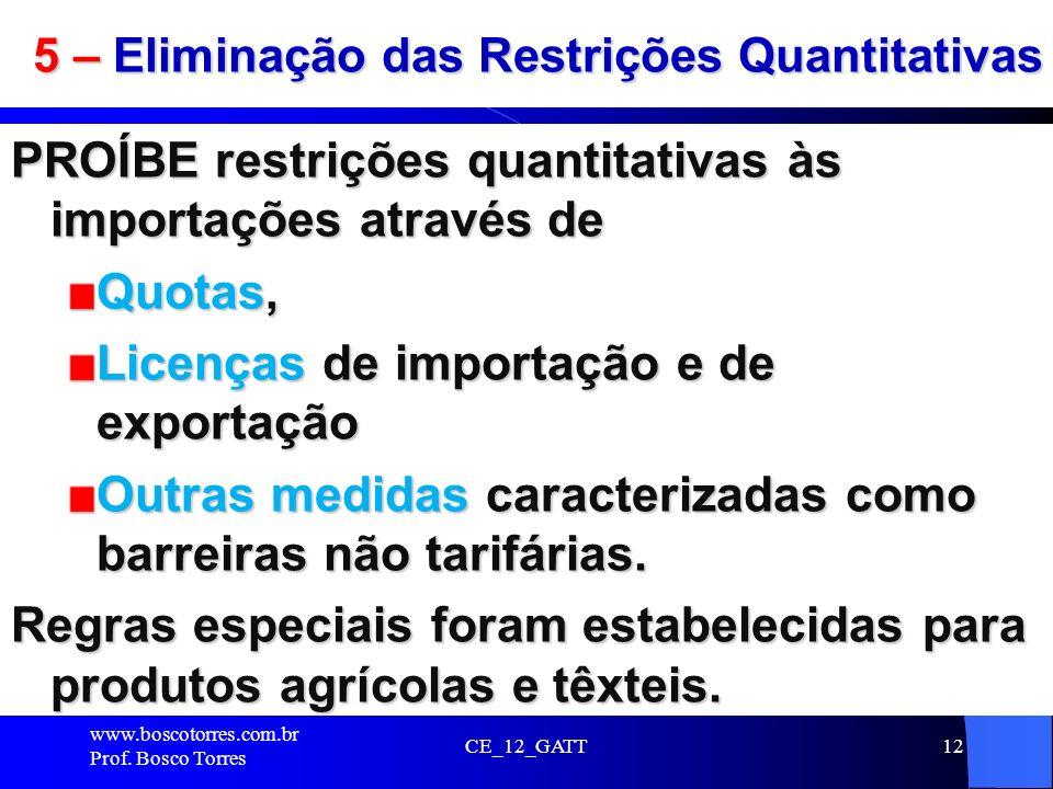 CE_12_GATT12 5 – Eliminação das Restrições Quantitativas PROÍBE restrições quantitativas às importações através de Quotas, Licenças de importação e de