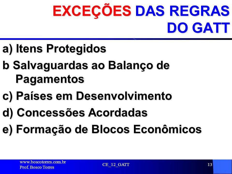 EXCEÇÕES DAS REGRAS DO GATT a) Itens Protegidos b Salvaguardas ao Balanço de Pagamentos c) Países em Desenvolvimento d) Concessões Acordadas e) Formaç