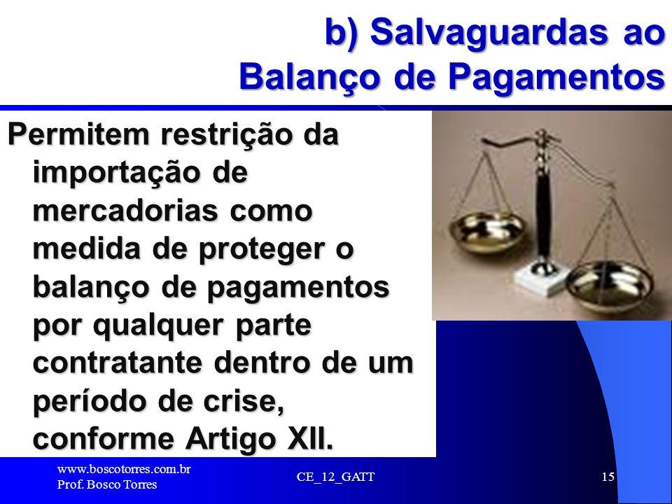 CE_12_GATT15 b) Salvaguardas ao Balanço de Pagamentos Permitem restrição da importação de mercadorias como medida de proteger o balanço de pagamentos