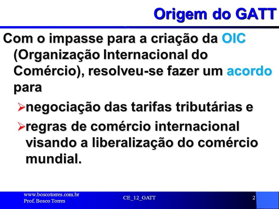 CE_12_GATT2 Origem do GATT Com o impasse para a criação da OIC (Organização Internacional do Comércio), resolveu-se fazer um acordo para negociação da
