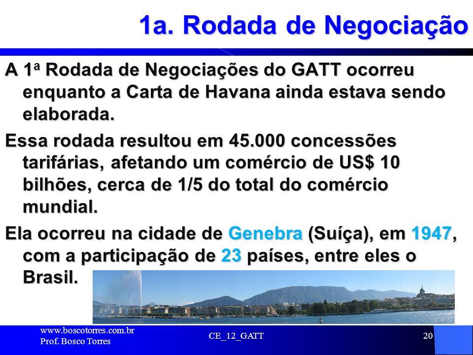 1a. Rodada de Negociação A 1 a Rodada de Negociações do GATT ocorreu enquanto a Carta de Havana ainda estava sendo elaborada. Essa rodada resultou em