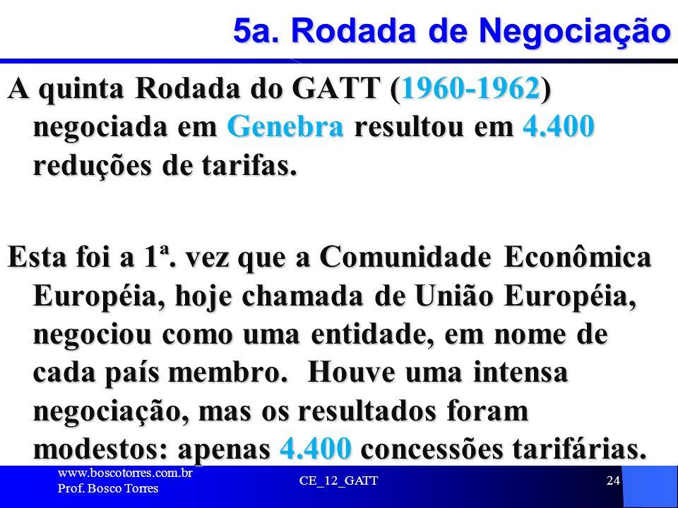 CE_12_GATT24 5a. Rodada de Negociação A quinta Rodada do GATT (1960-1962) negociada em Genebra resultou em 4.400 reduções de tarifas. Esta foi a 1ª. v