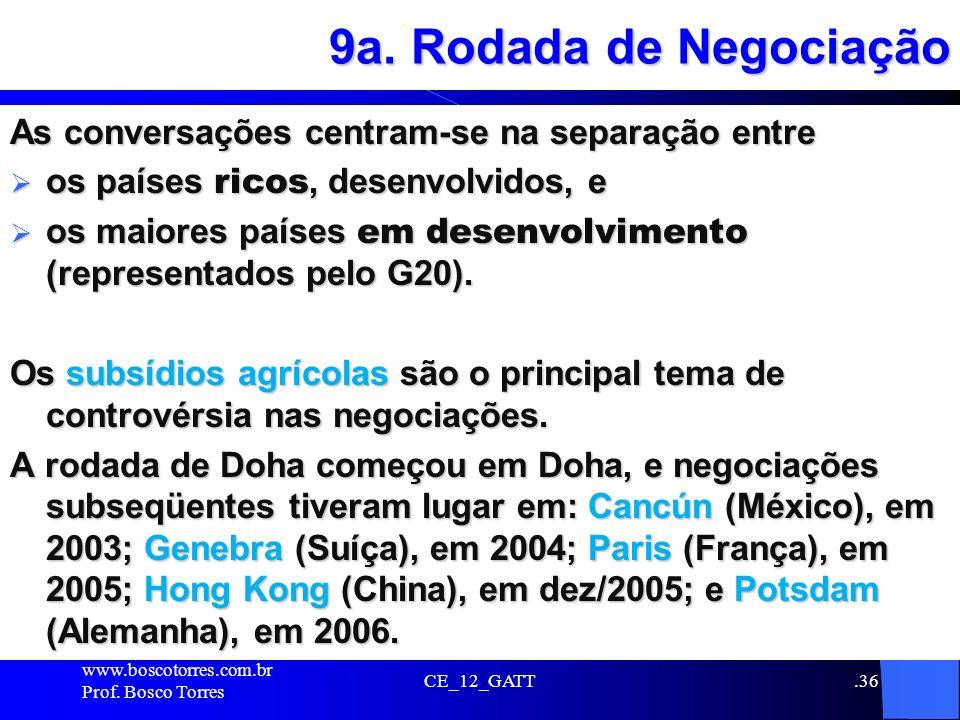 9a. Rodada de Negociação As conversações centram-se na separação entre os países ricos, desenvolvidos, e os países ricos, desenvolvidos, e os maiores