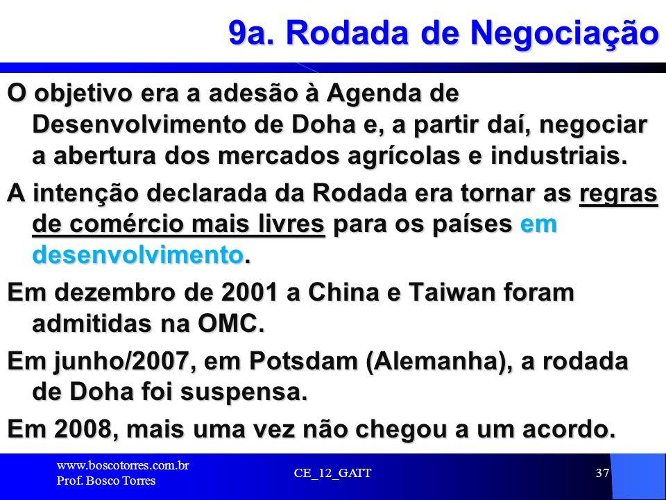 9a. Rodada de Negociação O objetivo era a adesão à Agenda de Desenvolvimento de Doha e, a partir daí, negociar a abertura dos mercados agrícolas e ind