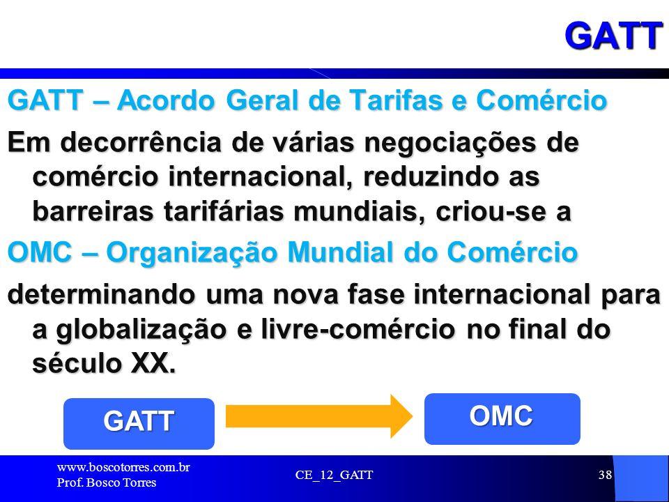 GATT GATT – Acordo Geral de Tarifas e Comércio Em decorrência de várias negociações de comércio internacional, reduzindo as barreiras tarifárias mundi