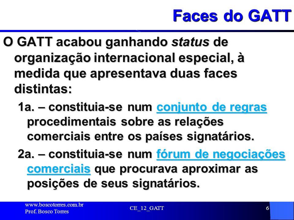 CE_12_GATT6 Faces do GATT O GATT acabou ganhando status de organização internacional especial, à medida que apresentava duas faces distintas: 1a. – co