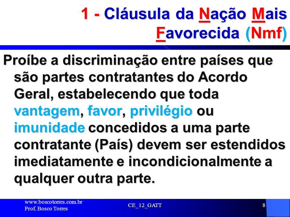 8 1 - Cláusula da Nação Mais Favorecida (Nmf) Proíbe a discriminação entre países que são partes contratantes do Acordo Geral, estabelecendo que toda
