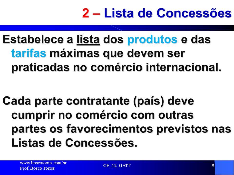 CE_12_GATT9 2 – Lista de Concessões Estabelece a lista dos produtos e das tarifas máximas que devem ser praticadas no comércio internacional. Cada par