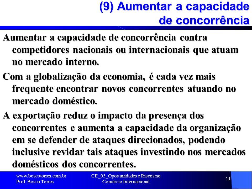 CE_03_Oportunidades e Riscos no Comércio Internacional 11 (9) Aumentar a capacidade de concorrência Aumentar a capacidade de concorrência contra compe