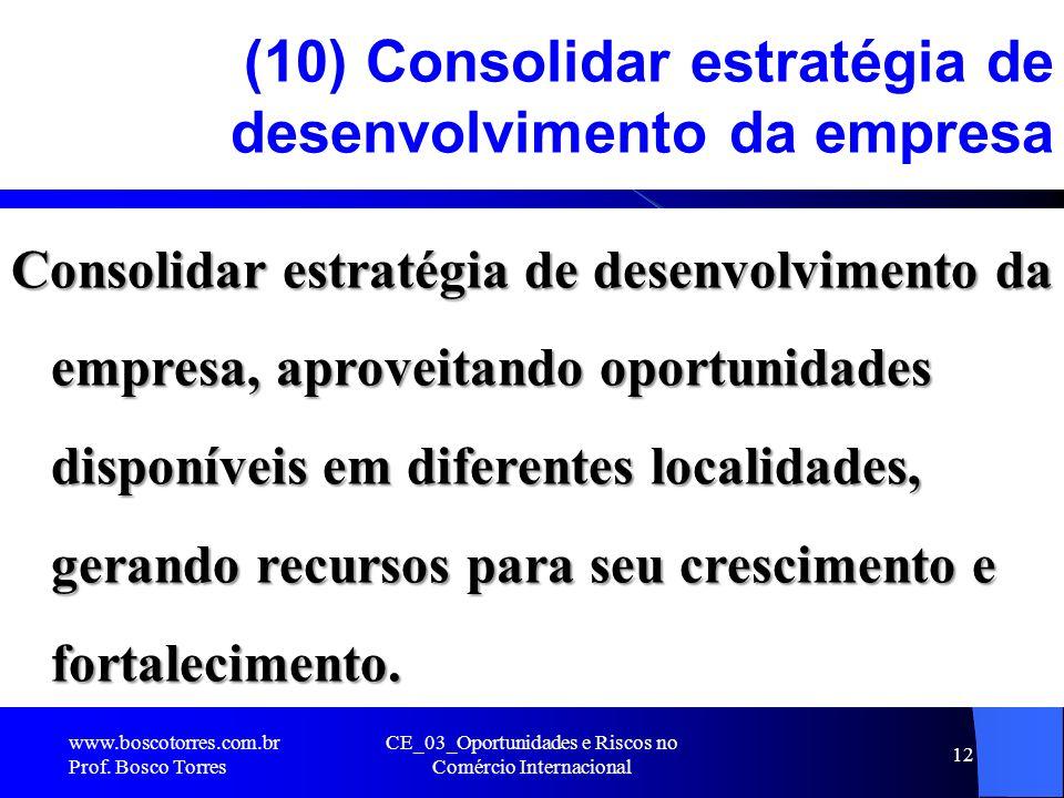 CE_03_Oportunidades e Riscos no Comércio Internacional 12 (10) Consolidar estratégia de desenvolvimento da empresa Consolidar estratégia de desenvolvi