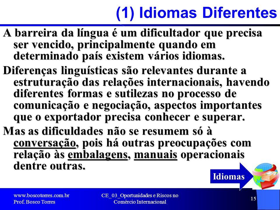 CE_03_Oportunidades e Riscos no Comércio Internacional 15 (1) Idiomas Diferentes A barreira da língua é um dificultador que precisa ser vencido, princ