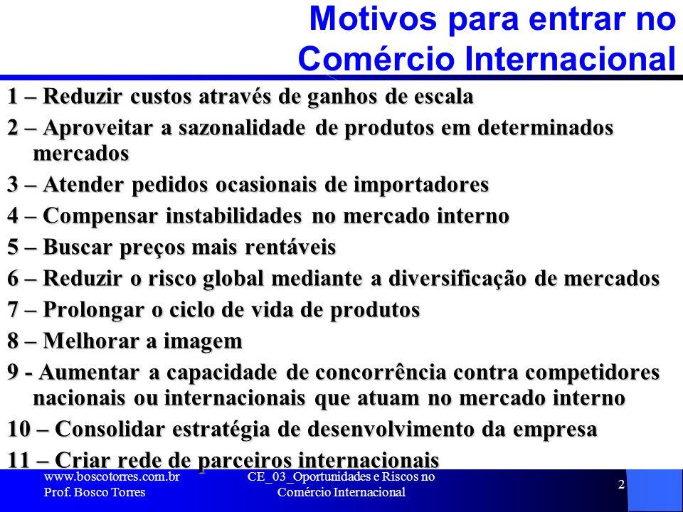CE_03_Oportunidades e Riscos no Comércio Internacional 2 Motivos para entrar no Comércio Internacional 1 – Reduzir custos através de ganhos de escala