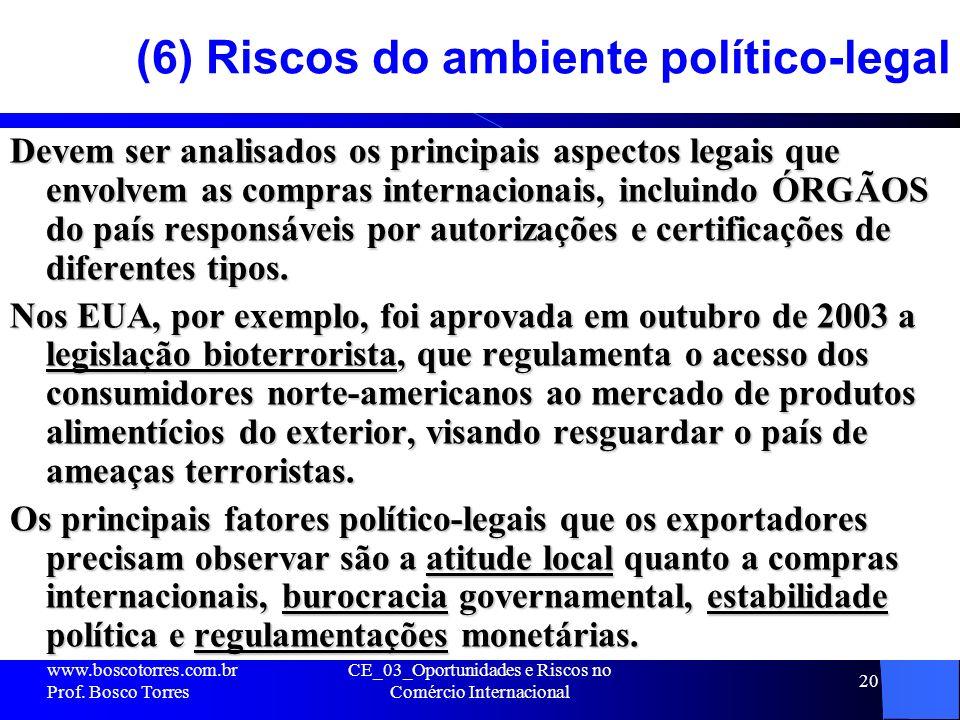 20 (6) Riscos do ambiente político-legal Devem ser analisados os principais aspectos legais que envolvem as compras internacionais, incluindo ÓRGÃOS d