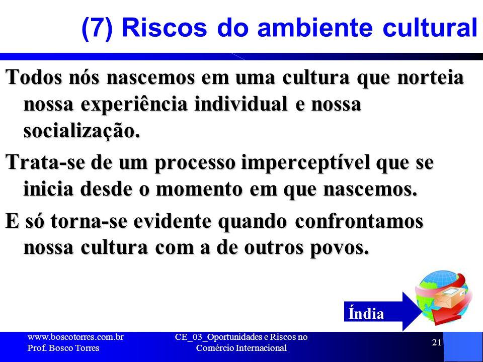 CE_03_Oportunidades e Riscos no Comércio Internacional 21 (7) Riscos do ambiente cultural Todos nós nascemos em uma cultura que norteia nossa experiên