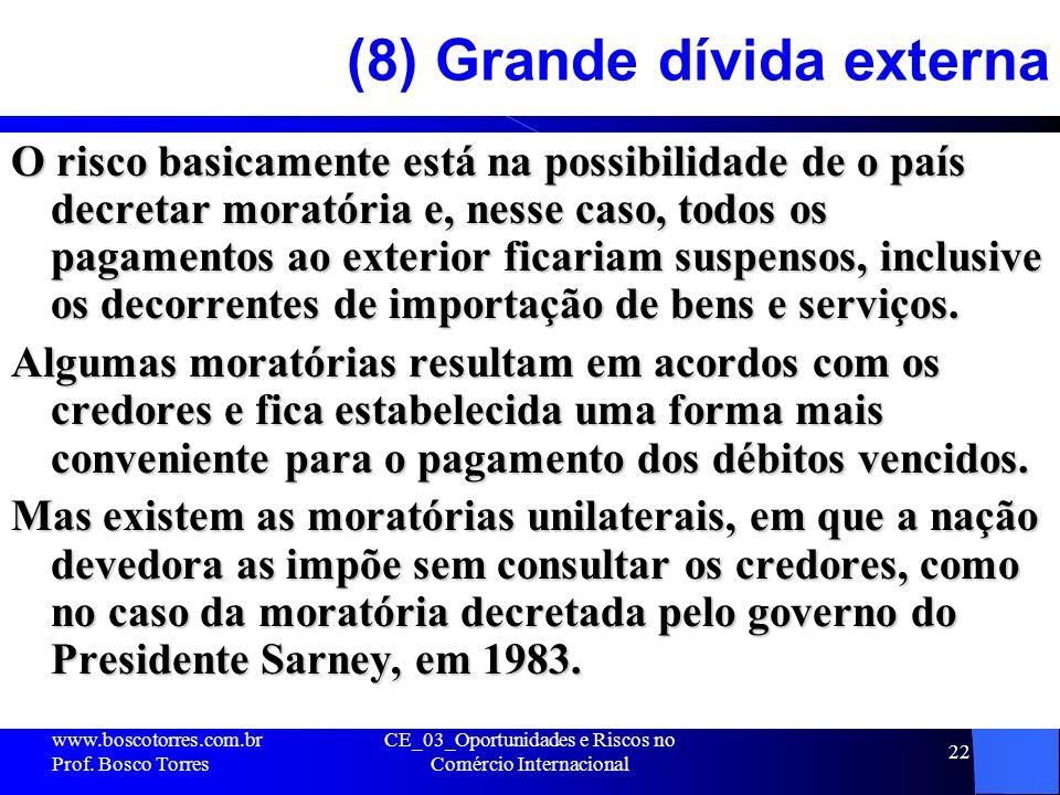 CE_03_Oportunidades e Riscos no Comércio Internacional 22 (8) Grande dívida externa O risco basicamente está na possibilidade de o país decretar morat