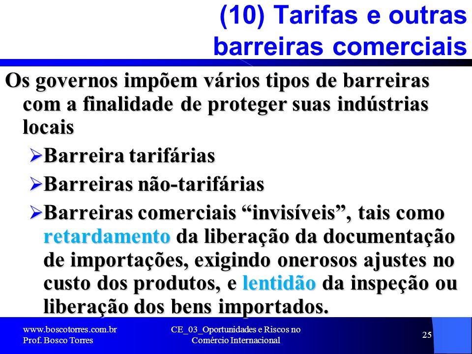 CE_03_Oportunidades e Riscos no Comércio Internacional 25 (10) Tarifas e outras barreiras comerciais Os governos impõem vários tipos de barreiras com
