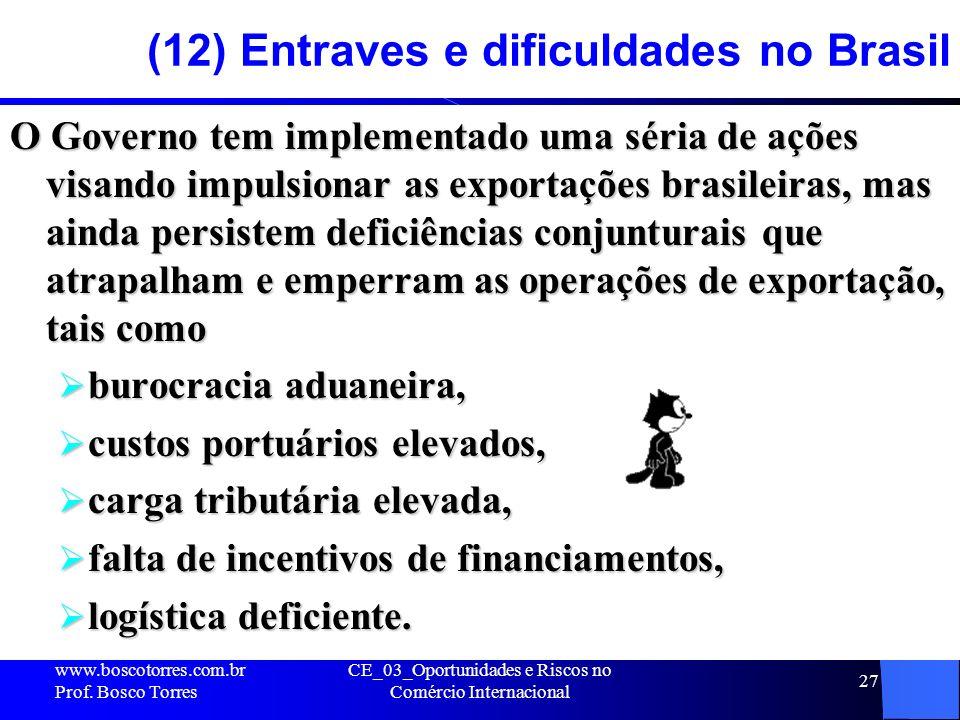 CE_03_Oportunidades e Riscos no Comércio Internacional 27 (12) Entraves e dificuldades no Brasil O Governo tem implementado uma séria de ações visando