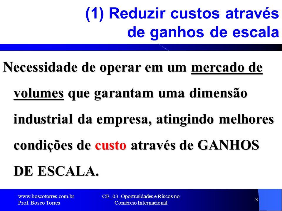 CE_03_Oportunidades e Riscos no Comércio Internacional 3 (1) Reduzir custos através de ganhos de escala Necessidade de operar em um mercado de volumes