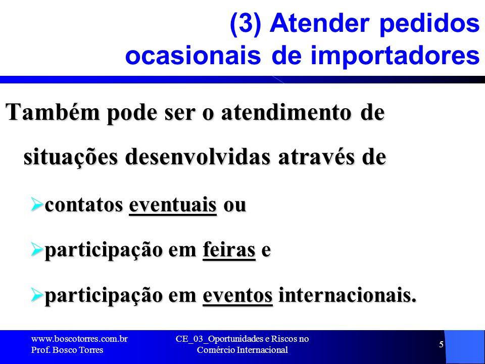 CE_03_Oportunidades e Riscos no Comércio Internacional 5 (3) Atender pedidos ocasionais de importadores Também pode ser o atendimento de situações des