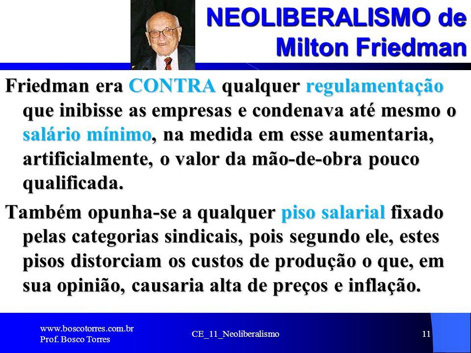CE_11_Neoliberalismo11 NEOLIBERALISMO de Milton Friedman Friedman era CONTRA qualquer regulamentação que inibisse as empresas e condenava até mesmo o