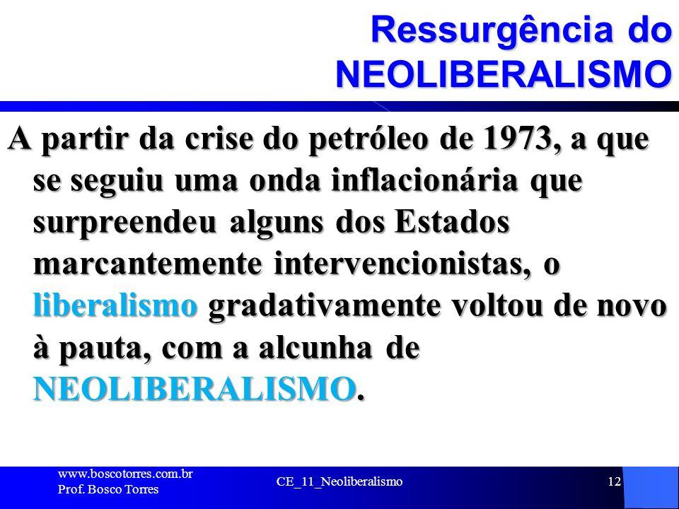 CE_11_Neoliberalismo12 Ressurgência do NEOLIBERALISMO A partir da crise do petróleo de 1973, a que se seguiu uma onda inflacionária que surpreendeu al