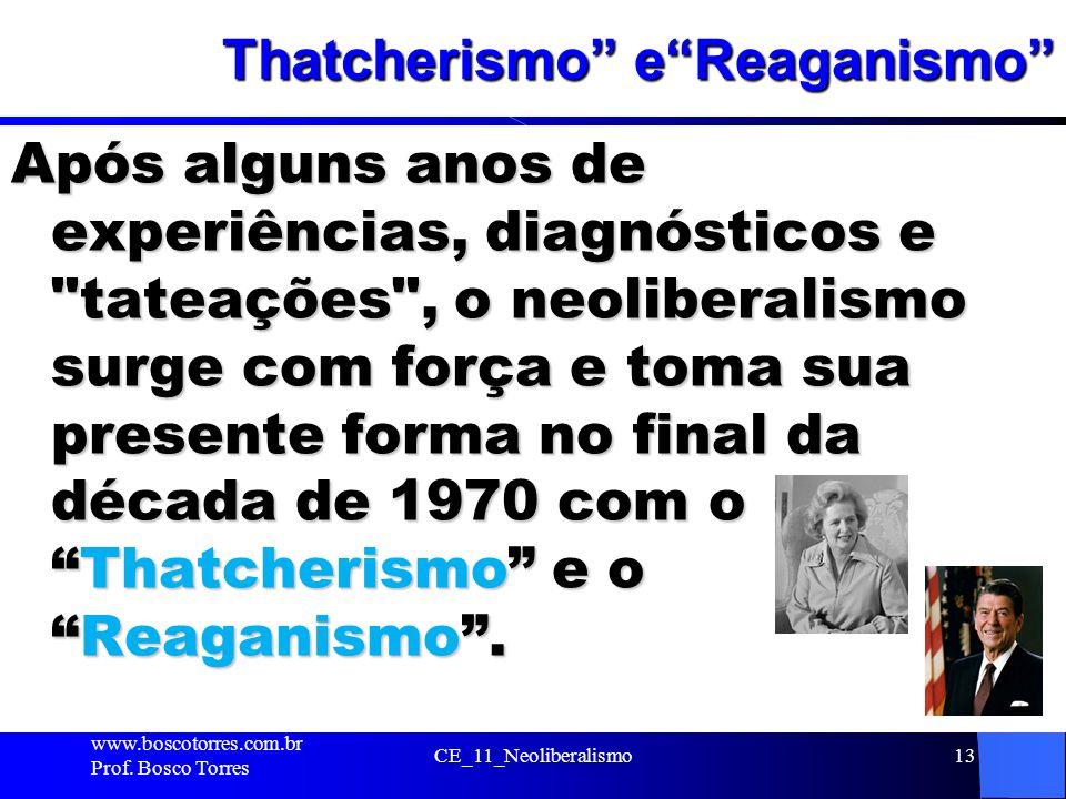 Thatcherismo eReaganismo Após alguns anos de experiências, diagnósticos e