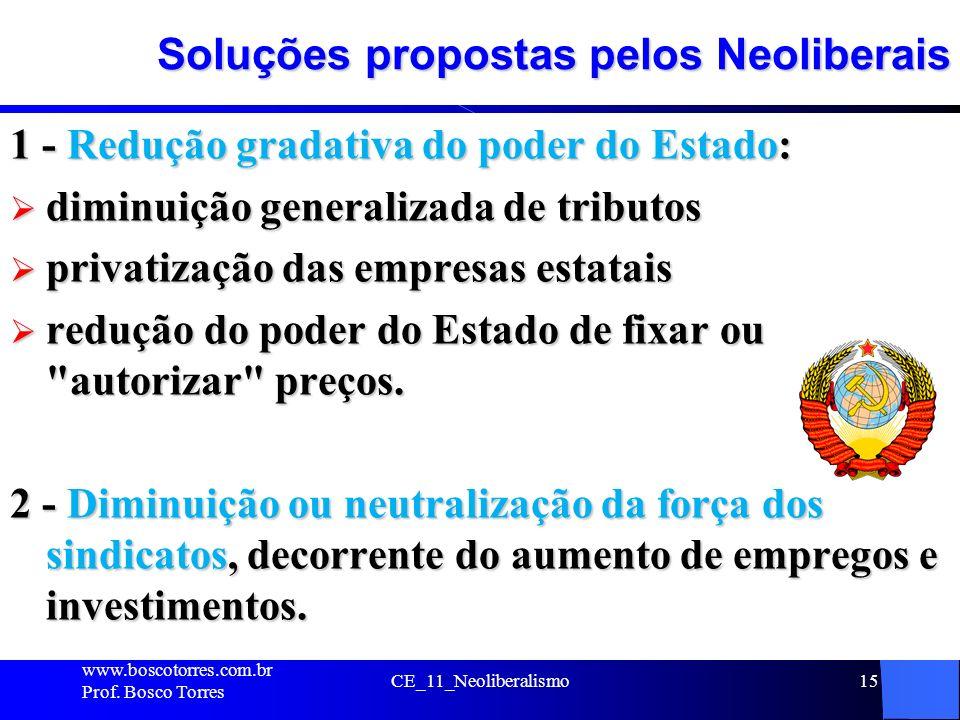 CE_11_Neoliberalismo15 Soluções propostas pelos Neoliberais 1 - Redução gradativa do poder do Estado: diminuição generalizada de tributos diminuição g
