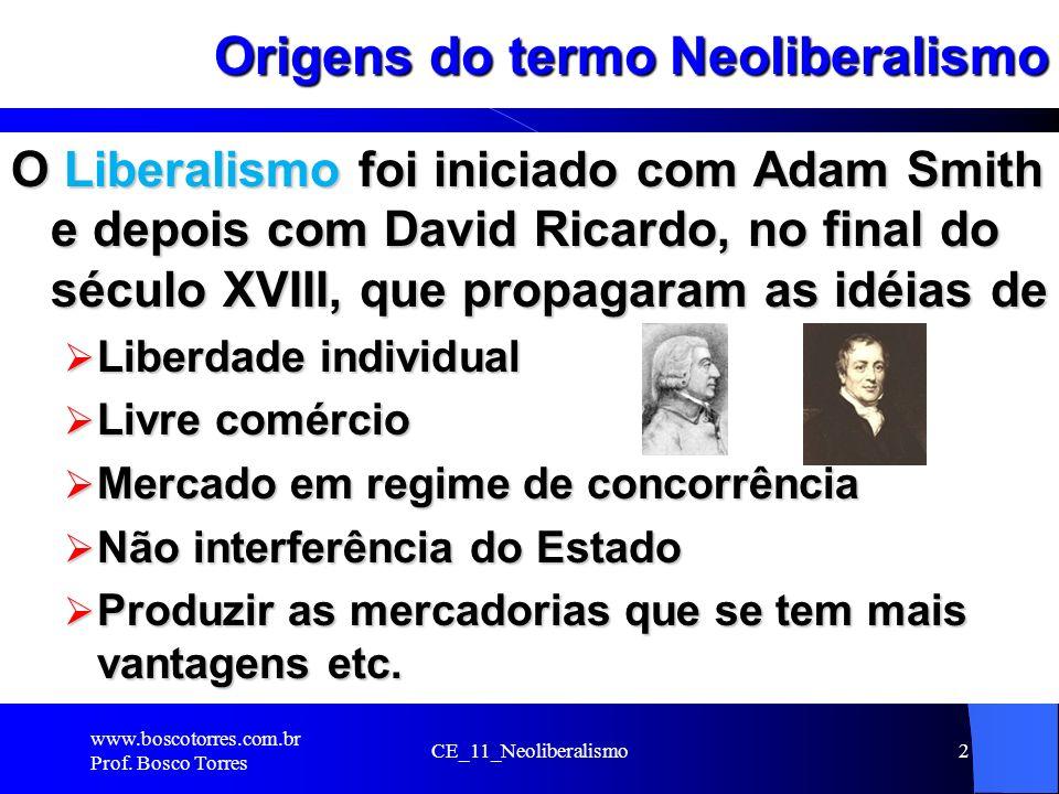 CE_11_Neoliberalismo2 Origens do termo Neoliberalismo O Liberalismo foi iniciado com Adam Smith e depois com David Ricardo, no final do século XVIII,
