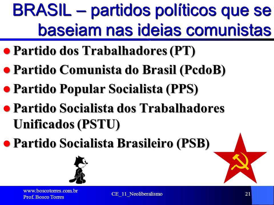 BRASIL – partidos políticos que se baseiam nas ideias comunistas Partido dos Trabalhadores (PT) Partido dos Trabalhadores (PT) Partido Comunista do Br