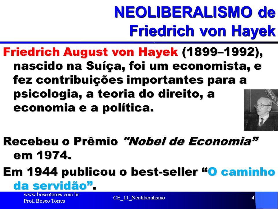 CE_11_Neoliberalismo4 NEOLIBERALISMO de Friedrich von Hayek Friedrich August von Hayek (1899–1992), nascido na Suíça, foi um economista, e fez contrib
