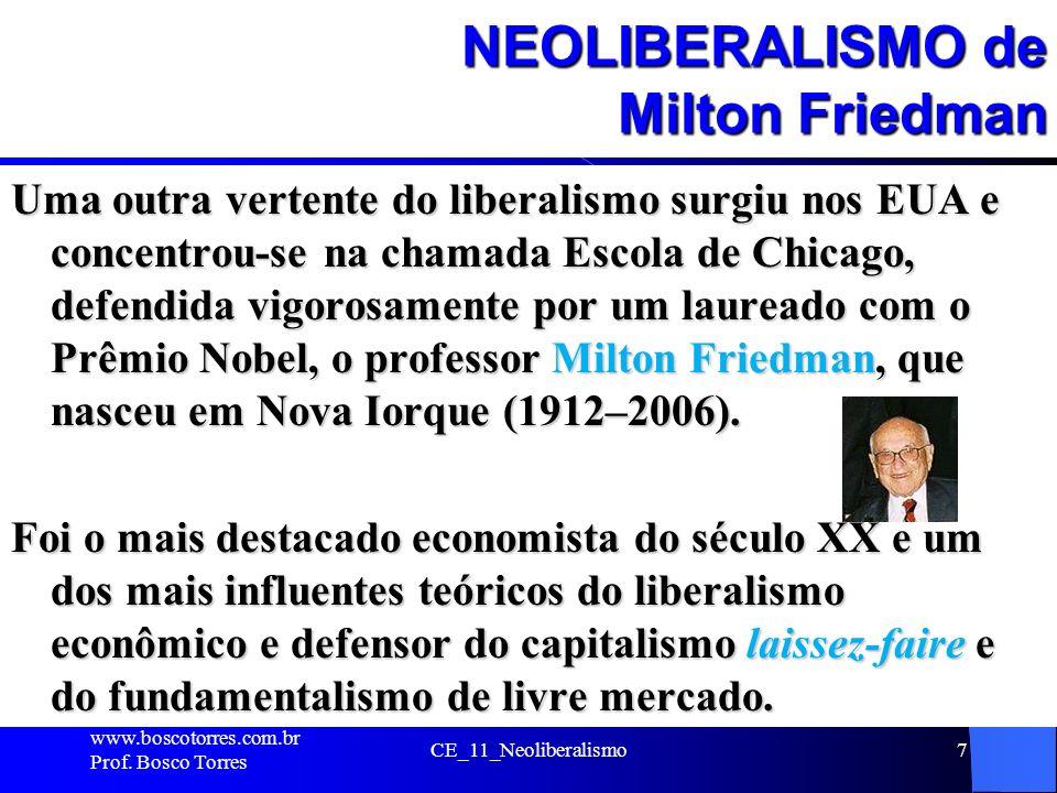 CE_11_Neoliberalismo7 NEOLIBERALISMO de Milton Friedman Uma outra vertente do liberalismo surgiu nos EUA e concentrou-se na chamada Escola de Chicago,