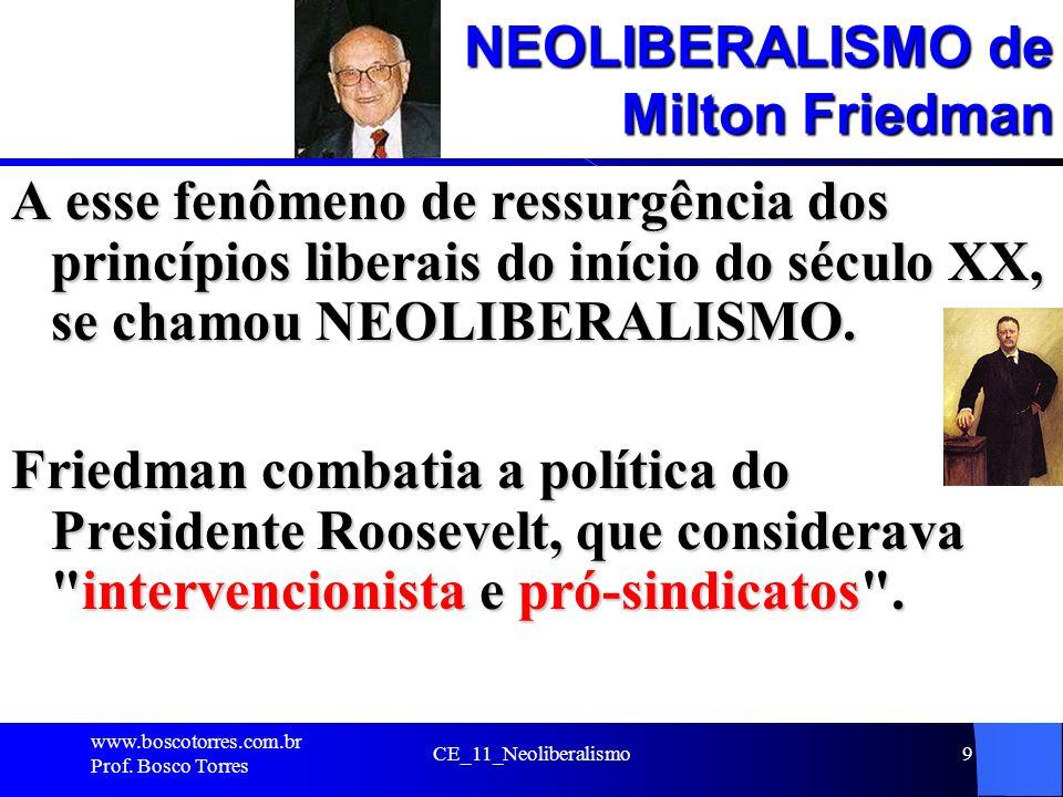 CE_11_Neoliberalismo9 NEOLIBERALISMO de Milton Friedman A esse fenômeno de ressurgência dos princípios liberais do início do século XX, se chamou NEOL