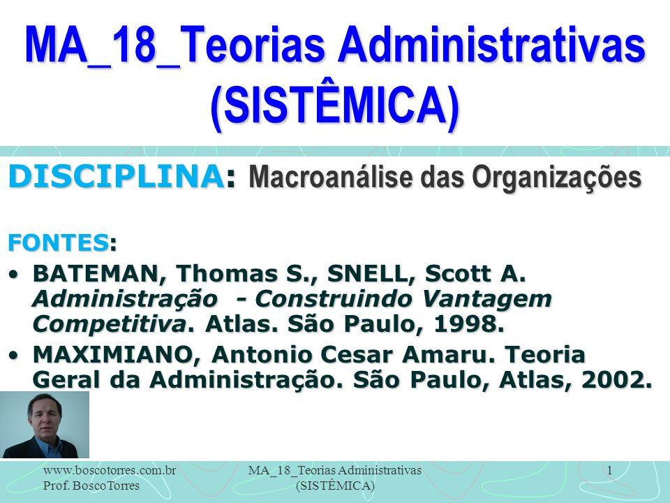 MA_18_Teorias Administrativas (SISTÊMICA) 1 DISCIPLINA: Macroanálise das Organizações FONTES: BATEMAN, Thomas S., SNELL, Scott A. Administração - Cons