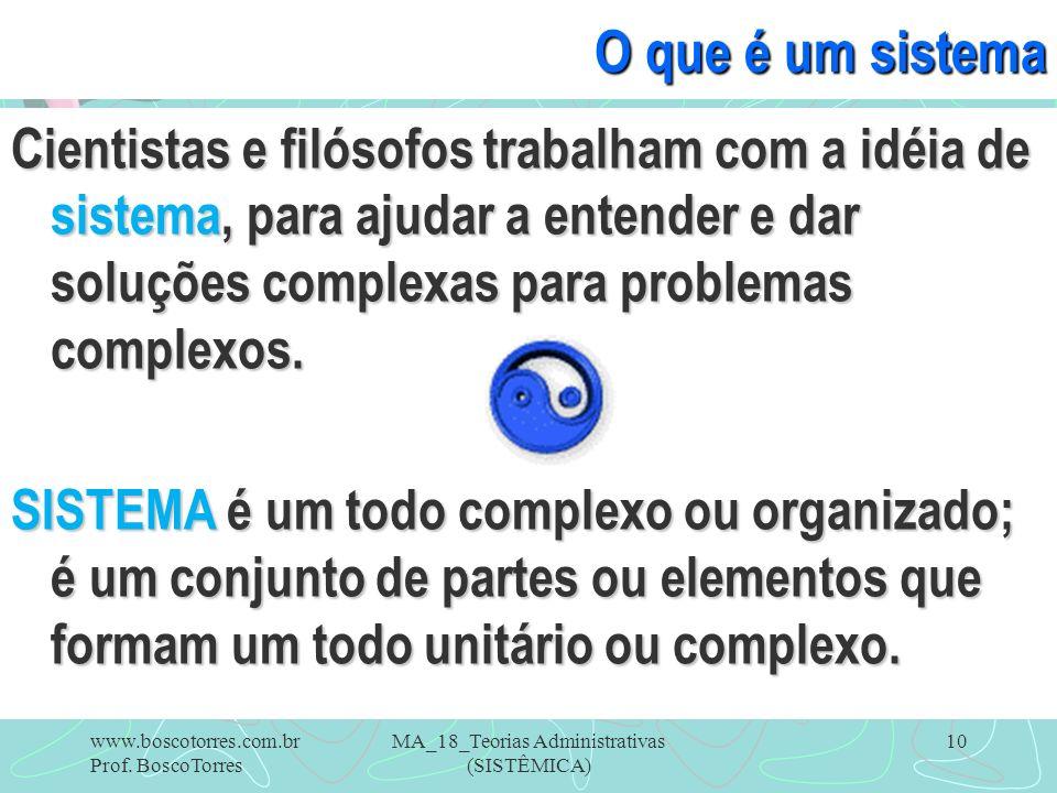 MA_18_Teorias Administrativas (SISTÊMICA) 10 O que é um sistema Cientistas e filósofos trabalham com a idéia de sistema, para ajudar a entender e dar