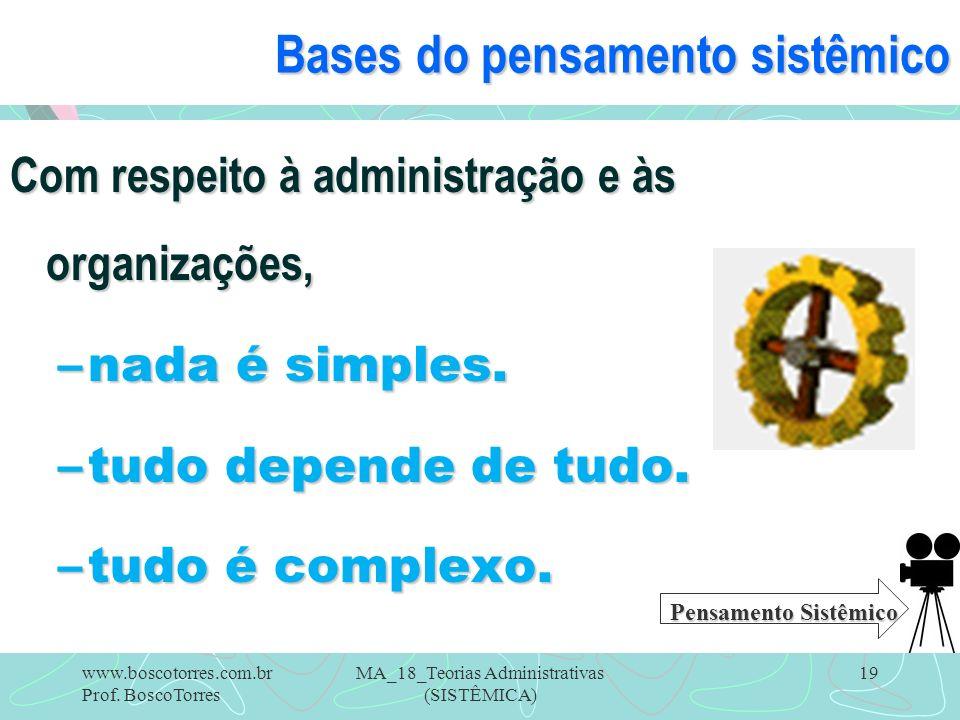 MA_18_Teorias Administrativas (SISTÊMICA) 19 Bases do pensamento sistêmico Com respeito à administração e às organizações, –nada é simples. –tudo depe