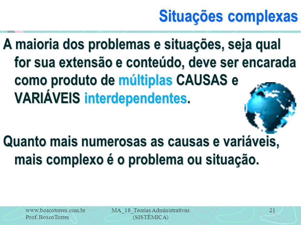MA_18_Teorias Administrativas (SISTÊMICA) 21 Situações complexas A maioria dos problemas e situações, seja qual for sua extensão e conteúdo, deve ser