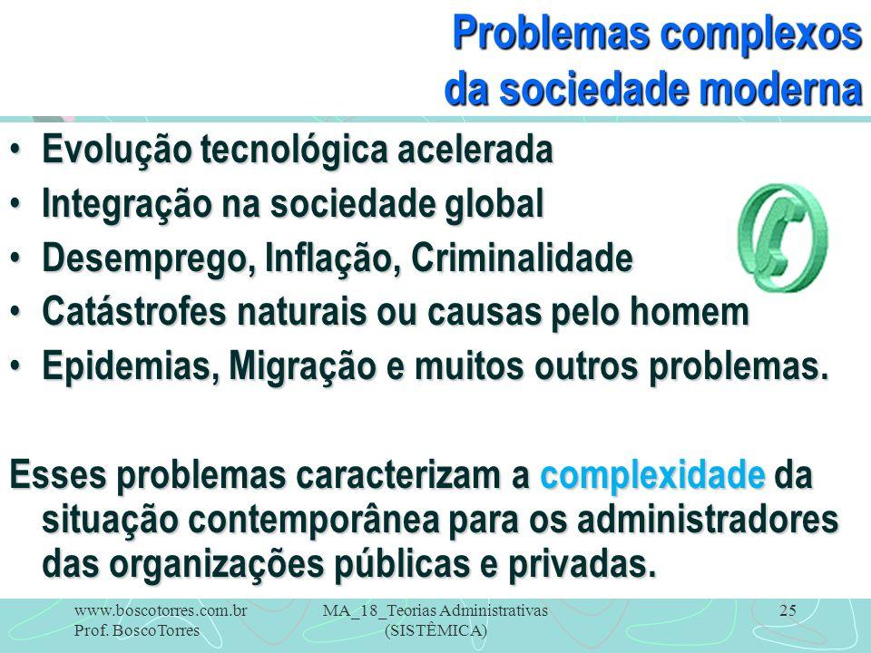 MA_18_Teorias Administrativas (SISTÊMICA) 25 Problemas complexos da sociedade moderna Evolução tecnológica acelerada Evolução tecnológica acelerada In