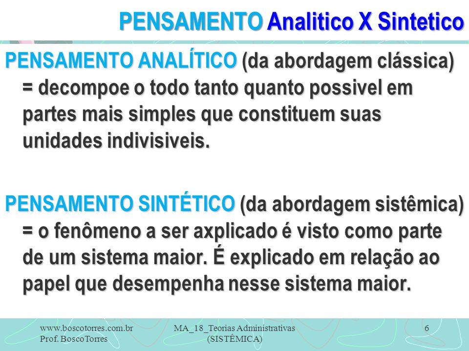 PENSAMENTO Analitico X Sintetico PENSAMENTO ANALÍTICO (da abordagem clássica) = decompoe o todo tanto quanto possivel em partes mais simples que const