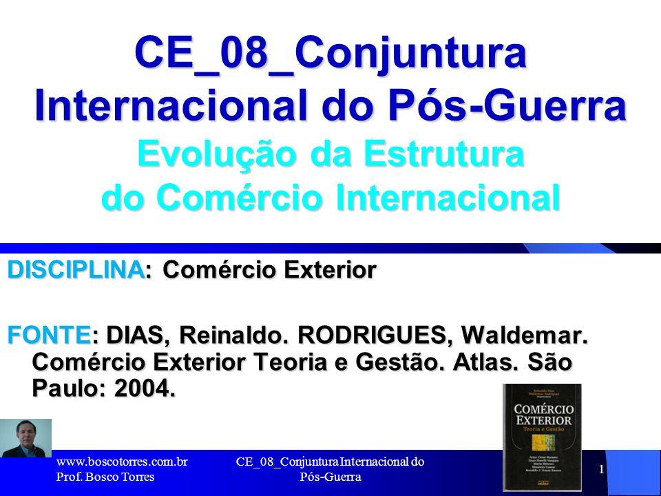 CE_08_Conjuntura Internacional do Pós-Guerra 1 CE_08_Conjuntura Internacional do Pós-Guerra Evolução da Estrutura do Comércio Internacional DISCIPLINA