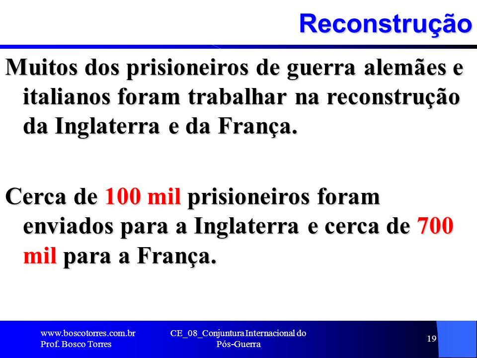 Reconstrução Muitos dos prisioneiros de guerra alemães e italianos foram trabalhar na reconstrução da Inglaterra e da França. Cerca de 100 mil prision