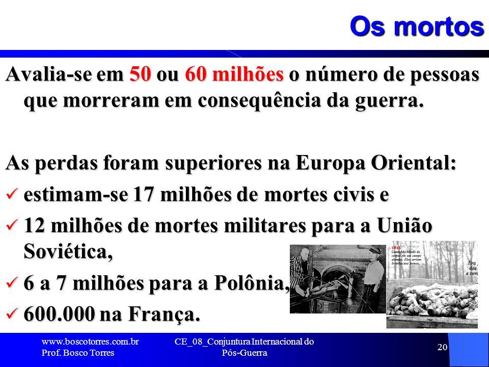 Os mortos Avalia-se em 50 ou 60 milhões o número de pessoas que morreram em consequência da guerra. As perdas foram superiores na Europa Oriental: est