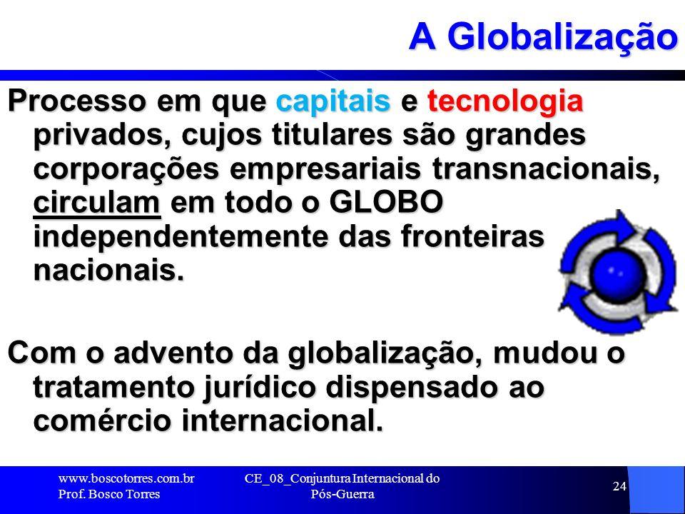 CE_08_Conjuntura Internacional do Pós-Guerra 24 A Globalização Processo em que capitais e tecnologia privados, cujos titulares são grandes corporações