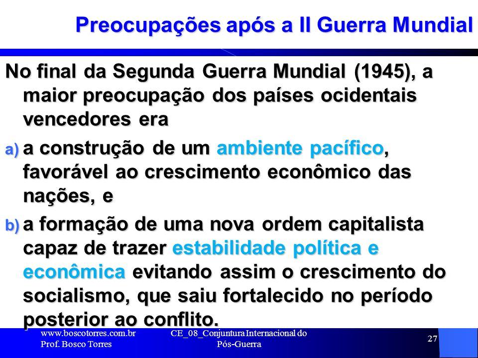 CE_08_Conjuntura Internacional do Pós-Guerra 27 Preocupações após a II Guerra Mundial No final da Segunda Guerra Mundial (1945), a maior preocupação d