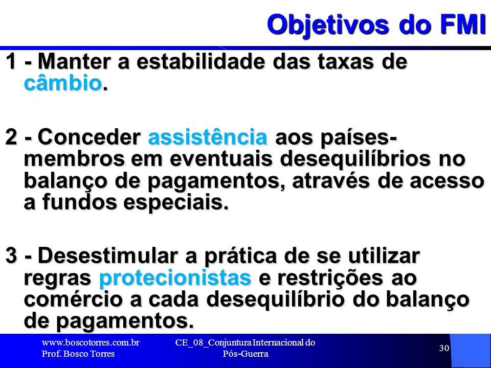 CE_08_Conjuntura Internacional do Pós-Guerra 30 Objetivos do FMI 1 - Manter a estabilidade das taxas de câmbio. 2 - Conceder assistência aos países- m