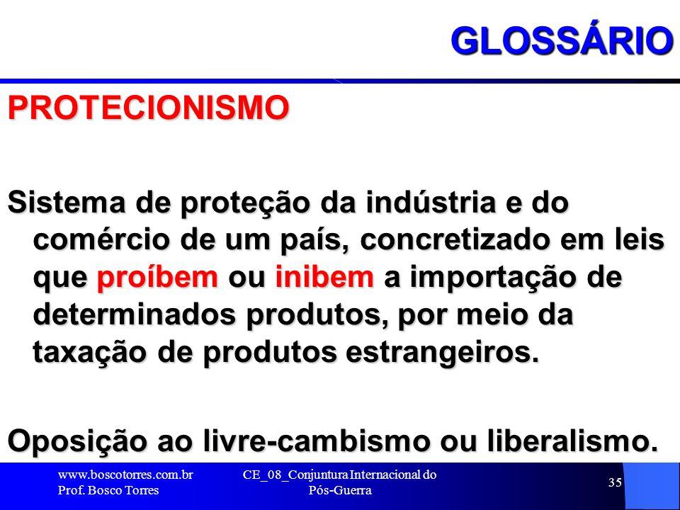 CE_08_Conjuntura Internacional do Pós-Guerra 35GLOSSÁRIOPROTECIONISMO Sistema de proteção da indústria e do comércio de um país, concretizado em leis